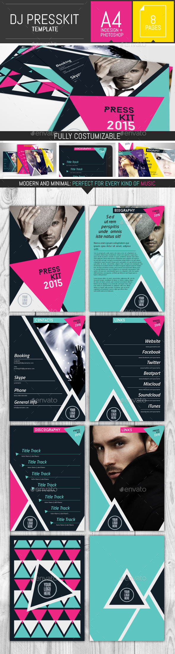 GraphicRiver Geometric Dj and Musician Presskit Template 9913893