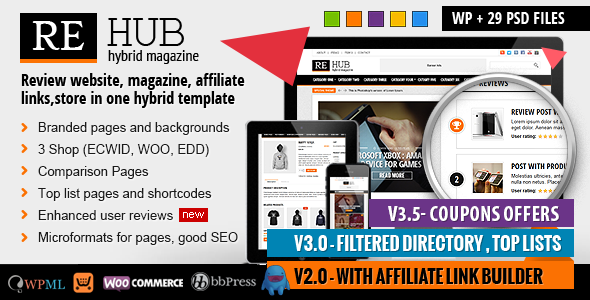 REHub - Directory, Shop, Coupon, Affiliate Theme - Blog / Magazine WordPress