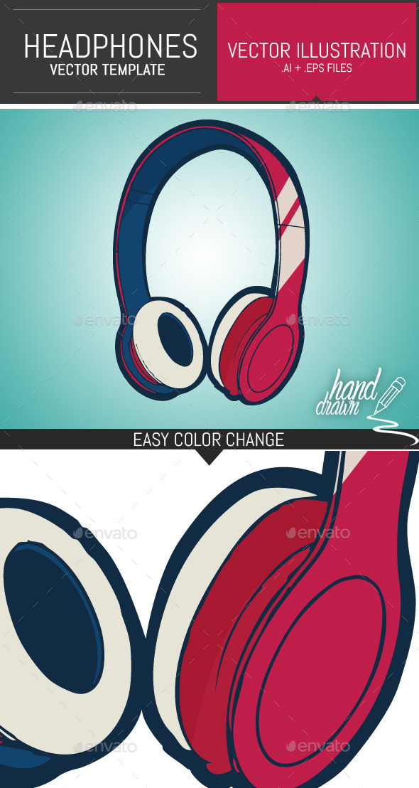 GraphicRiver Dj Headphones Vector Template 9914438