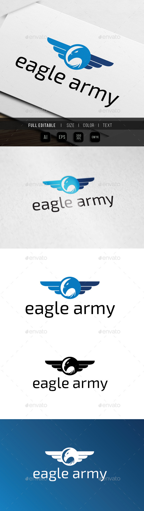 GraphicRiver Eagle Wing Army Badge 9915466