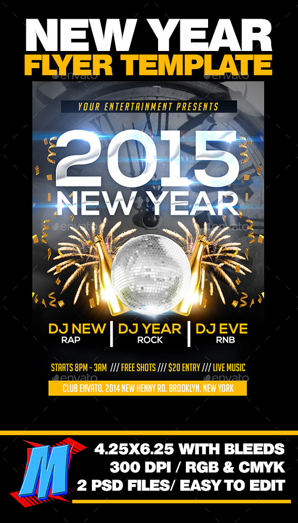 GraphicRiver New Year Flyer Template 9916200