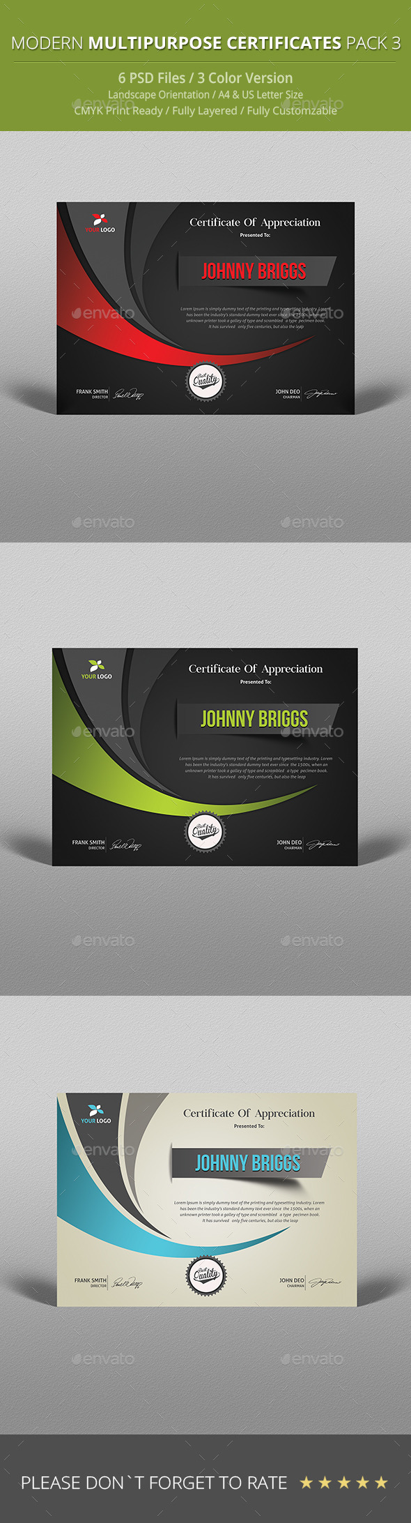 GraphicRiver Modern Multipurpose Certificate Pack 3 9917265