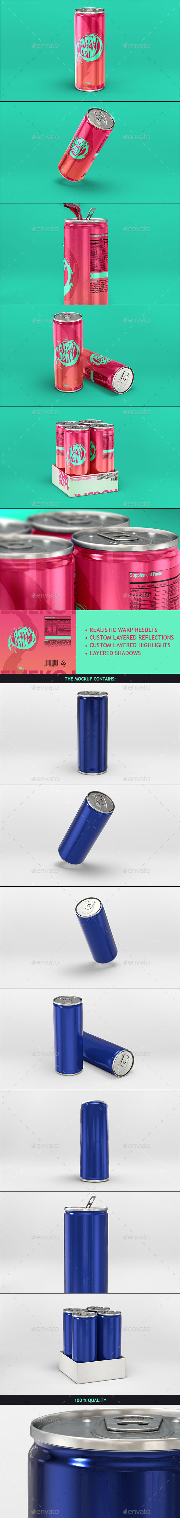 GraphicRiver Energy Drink Soda Can Mockup 9917417