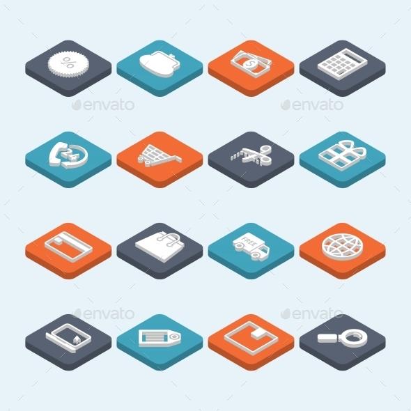 Shopping Icons Isometric