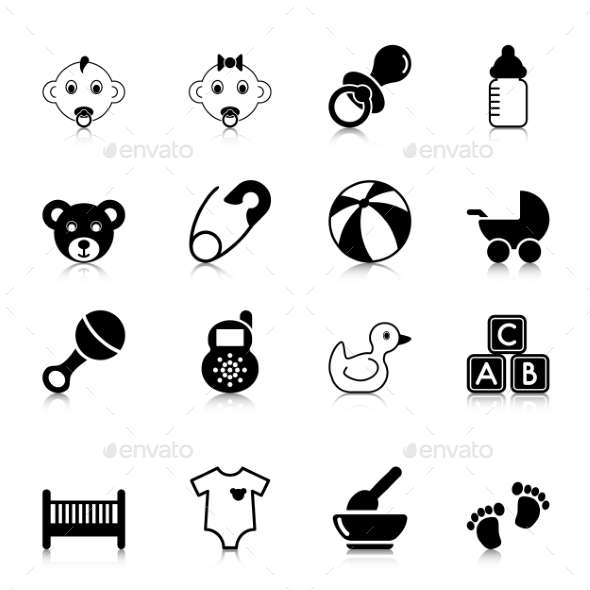 GraphicRiver Baby Icons with Reflection 9918399