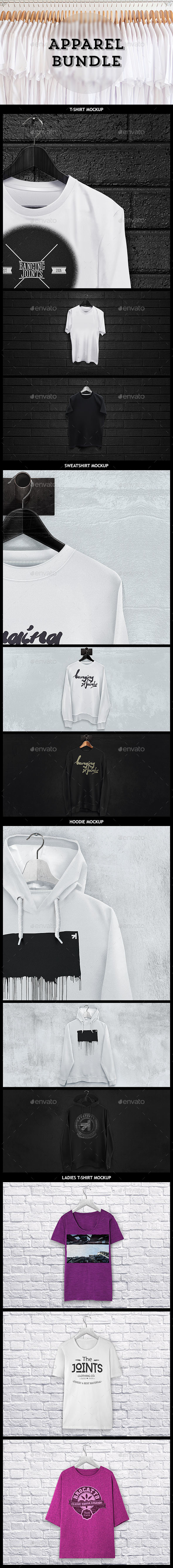 GraphicRiver Apparel Mockup Bundle T-shirt Sweat Hoodie 9918559