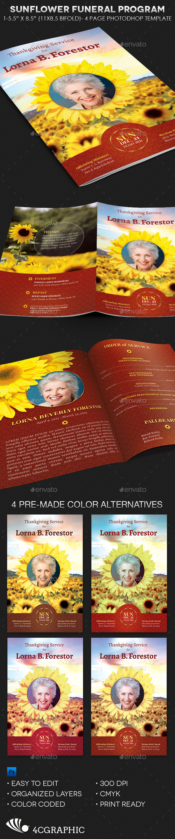 GraphicRiver Sunflower Funeral Program Template 9919010