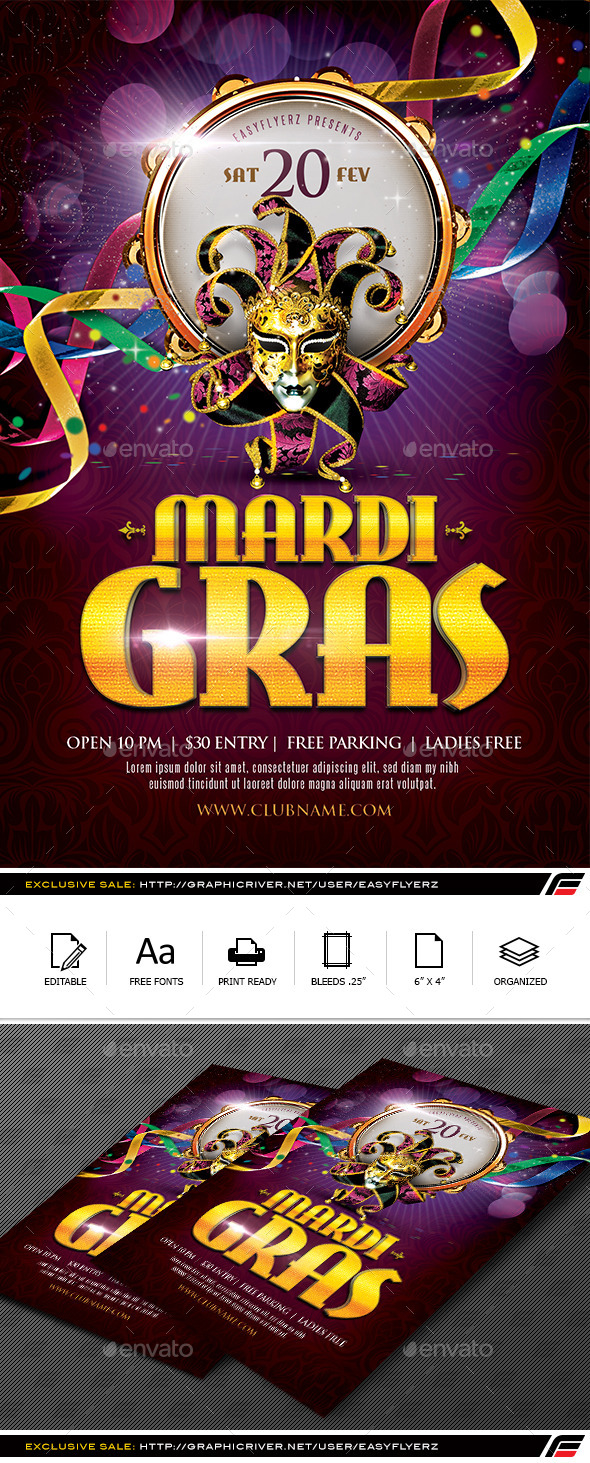GraphicRiver Mardi Gras Flyer Template 9919101