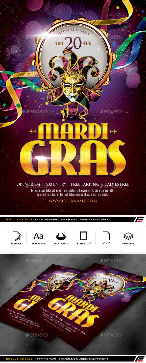 GraphicRiver Mardi Gras Flyer Template 9919101