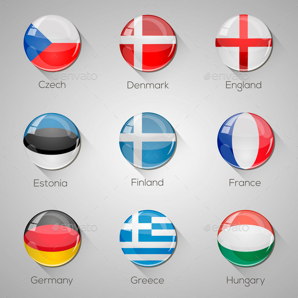 GraphicRiver European Flags Set 9919118