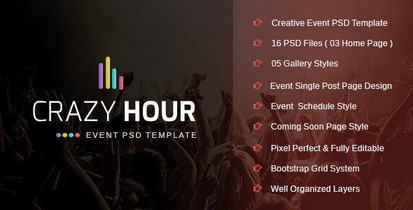ThemeForest Crazy Hour Event Management PSD Template 9741027