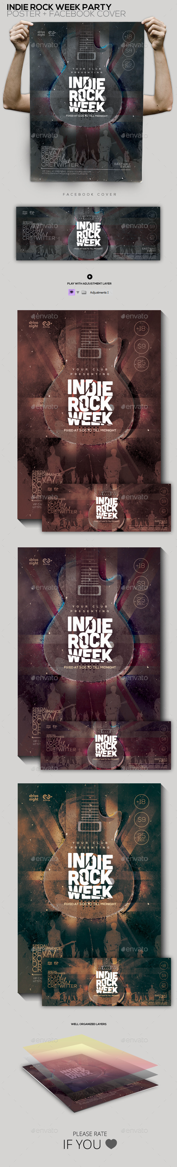 Indie Rock Week Party Poster Facebook Cover