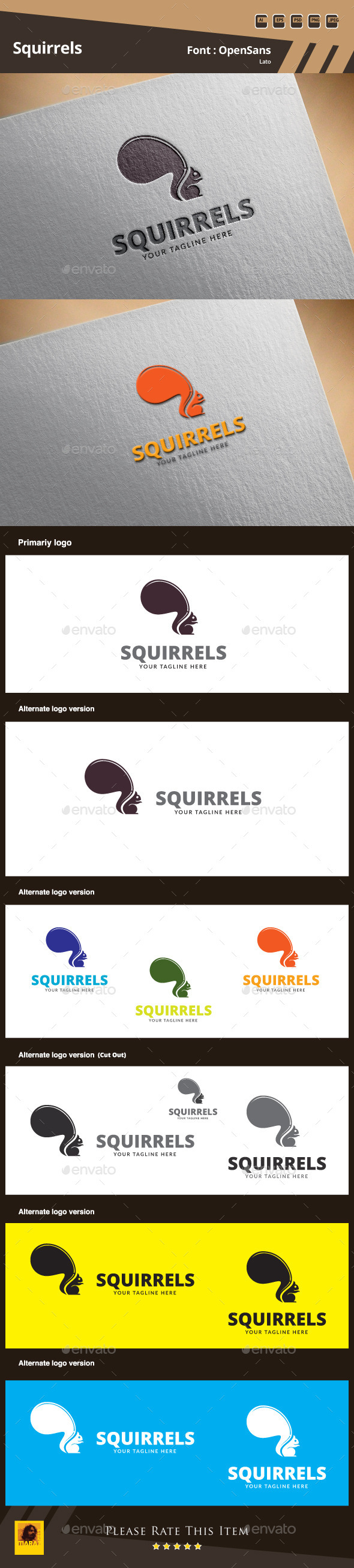 GraphicRiver Squirrels Logo Template 9919281