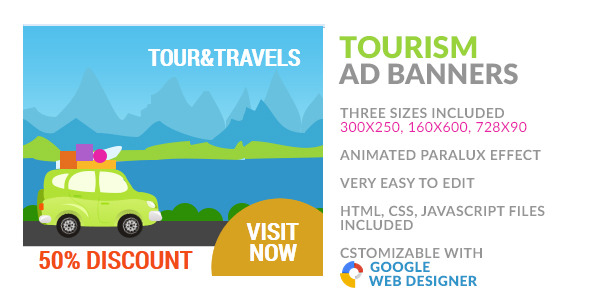 CodeCanyon Tourism & Travel HTML5 Ad Banner 9919314