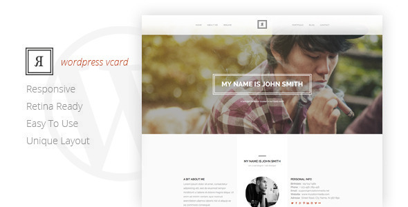 ThemeForest RIVAL One Page Vcard Wordpress Theme 9919657