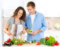 Happy Couple Cooking Together. Vegetable Salad. Dieting - PhotoDune Item for Sale