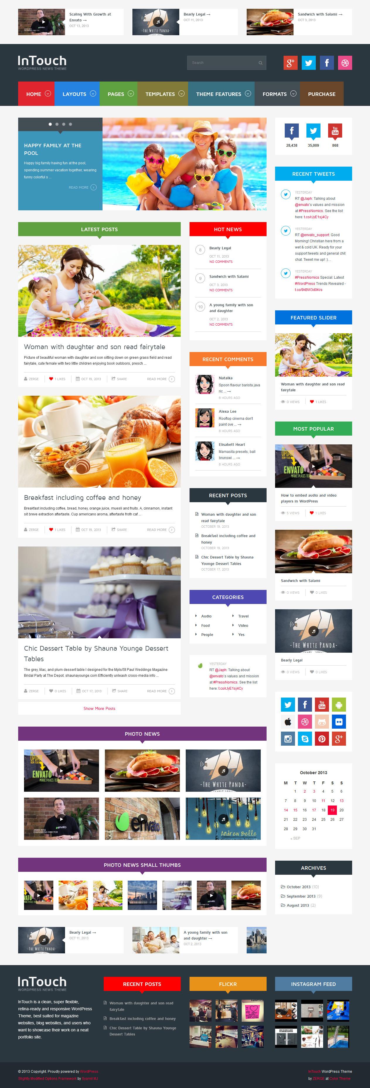 InTouch - Retina Responsive WordPress News Theme - Home Page