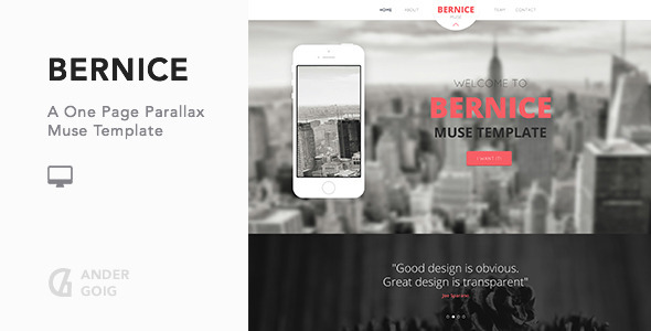 Bernice - One Page Parallax Muse Template - Muse Templates
