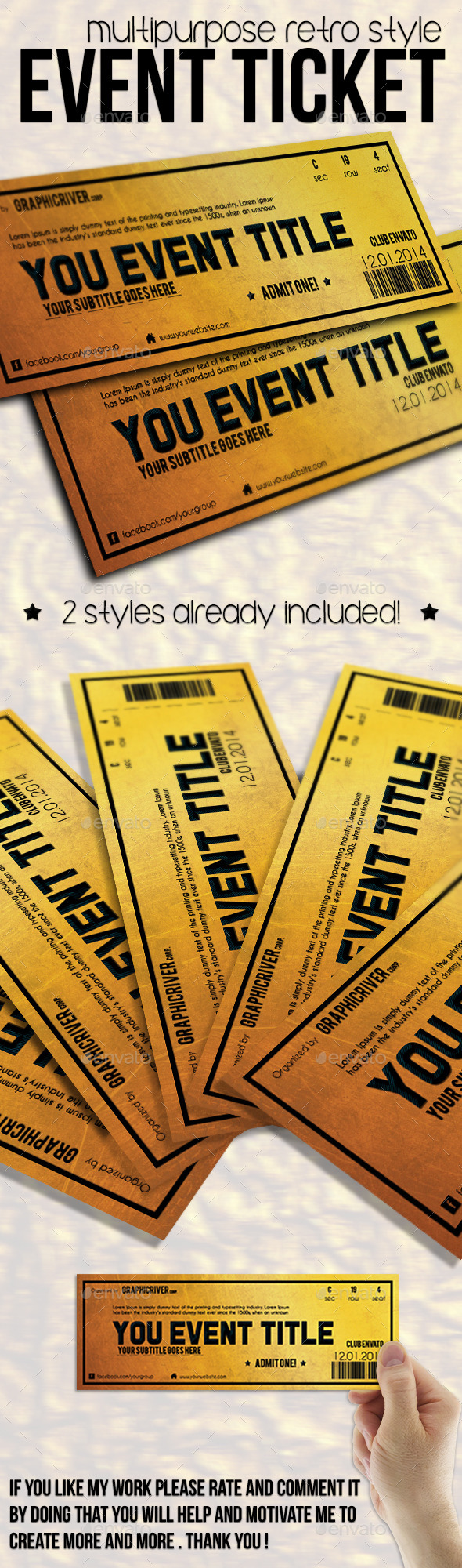 GraphicRiver Multipurpose Golden Event Ticket 9856584