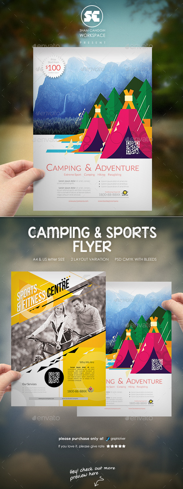 GraphicRiver Creative Camping And Sports Flyer 9920315