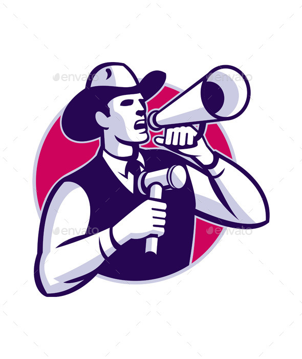 Auctioneer Cowboy with Gavel and Bullhorn