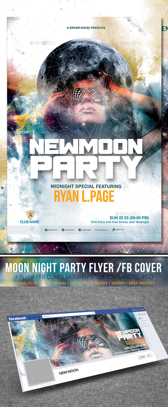 GraphicRiver New Moon Party Flyer with Facebook Cover 9907931
