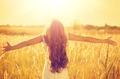 Beautiful teenage model girl in white dress enjoying nature - PhotoDune Item for Sale