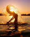 Beauty model girl splashing water with her hair - PhotoDune Item for Sale