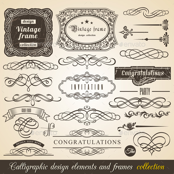 GraphicRiver Vector Calligraphic Border and Corner Frames 9921706