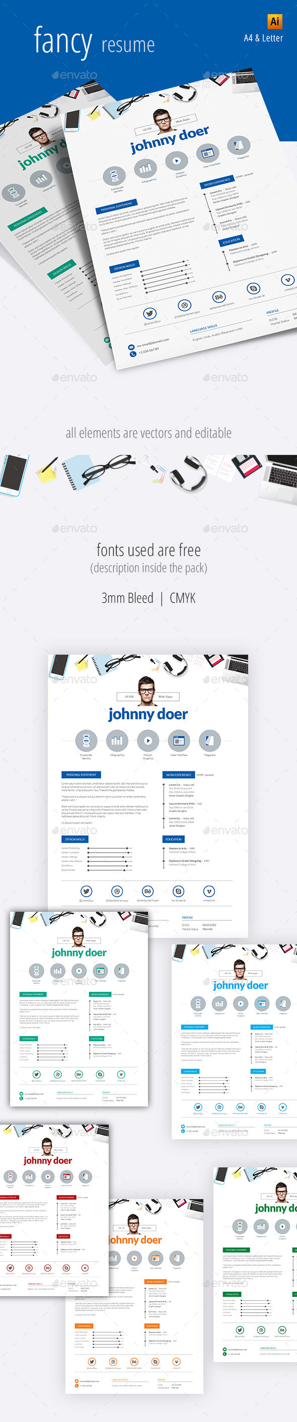 GraphicRiver Fancy Resume 9908129