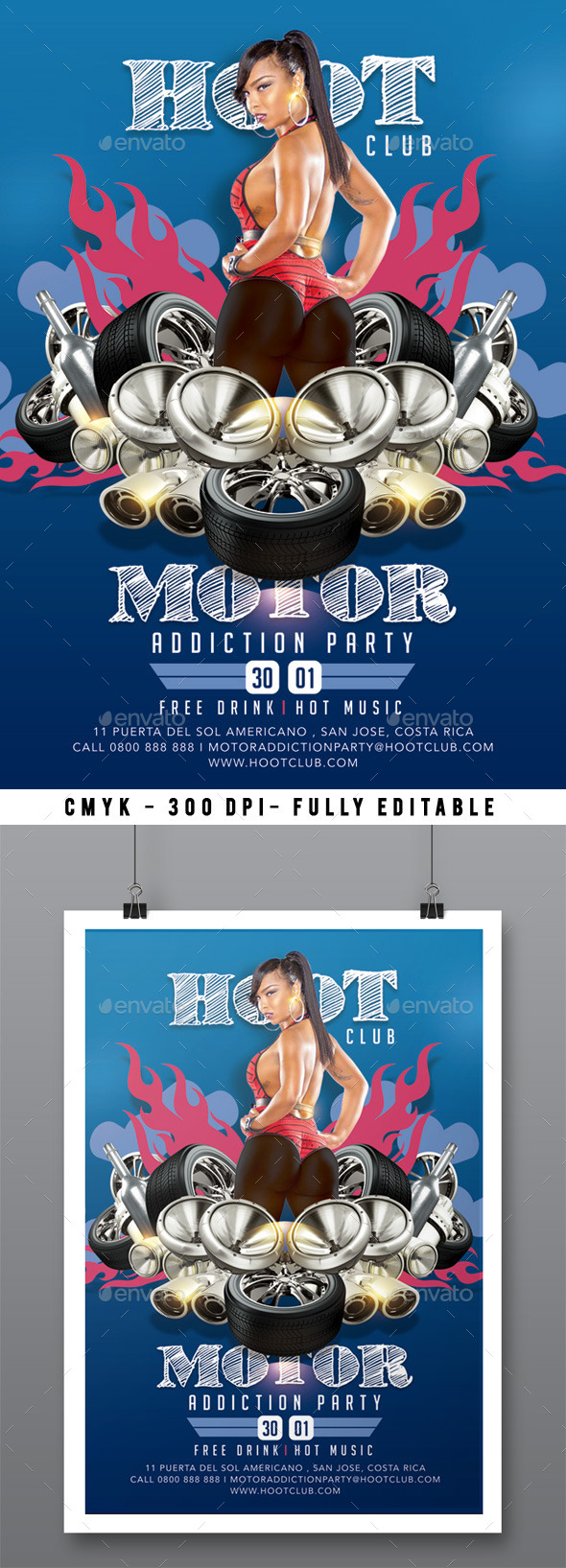 GraphicRiver Motor Addiction Party In Hot Hoot Club 9922034