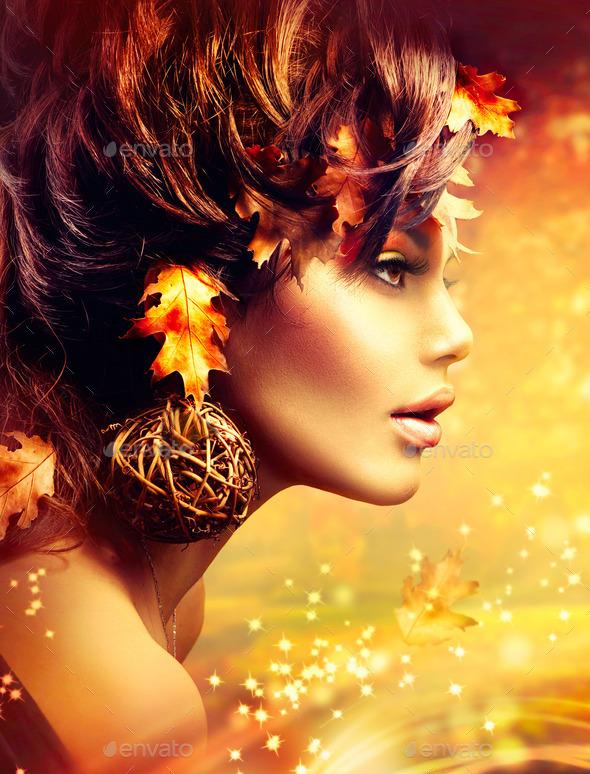 Autumn Woman Fantasy Fashion Golden Portrait. Fall
