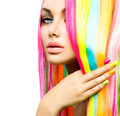 Beauty Girl Portrait with Colorful Makeup, Hair and Nail polish - PhotoDune Item for Sale