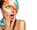 Surprised Woman with Colorful Makeup, Hair and Nail polish - PhotoDune Item for Sale
