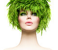 Beauty woman with fresh green grass hair. Nature model girl - PhotoDune Item for Sale