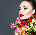 Vogue style woman portrait. Beautiful face makeup