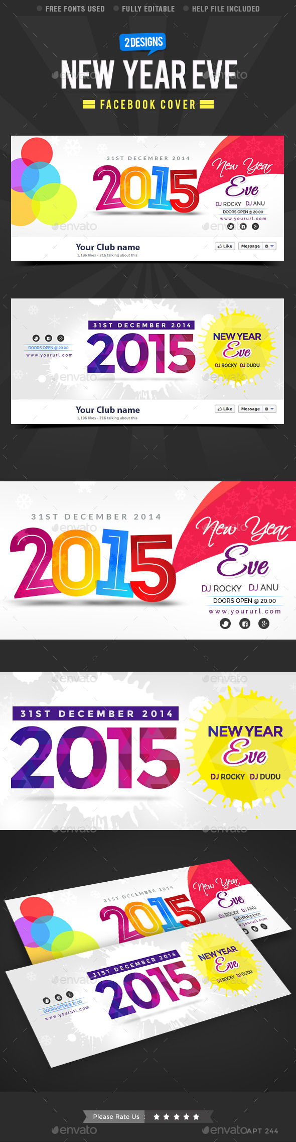 GraphicRiver New Year Facebook Cover 9900473