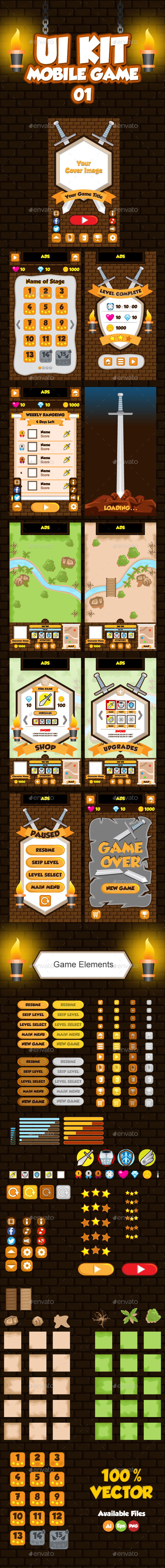 GraphicRiver Mobile Game UI Collection 01 9923949