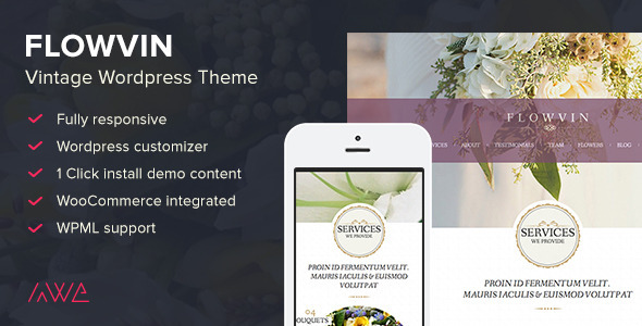 ThemeForest FlowVin Vintage Flower Shop WordPress Theme 9924042