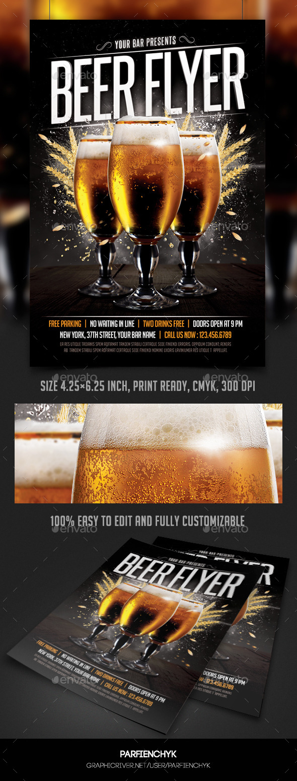 GraphicRiver Beer Flyer Template 9924425