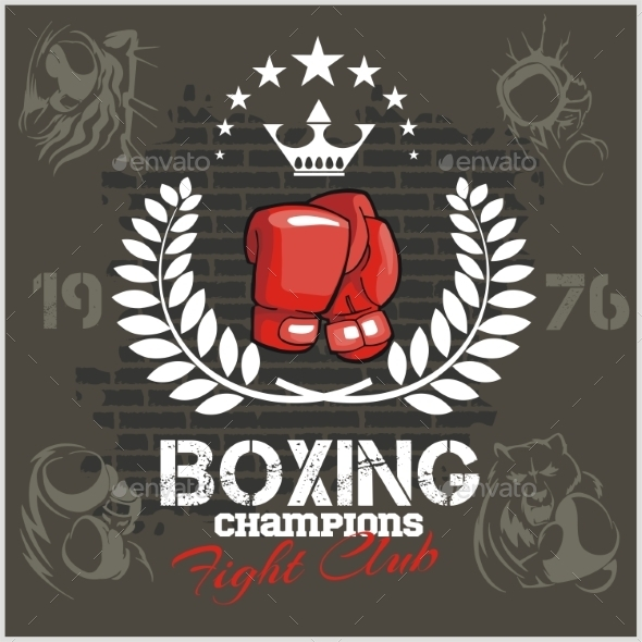 Boxing labels and icons set Vector illustration