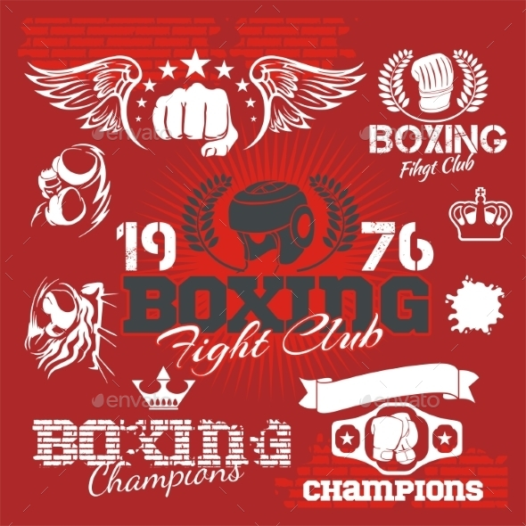 GraphicRiver Boxing Labels and Icons Set 9924447