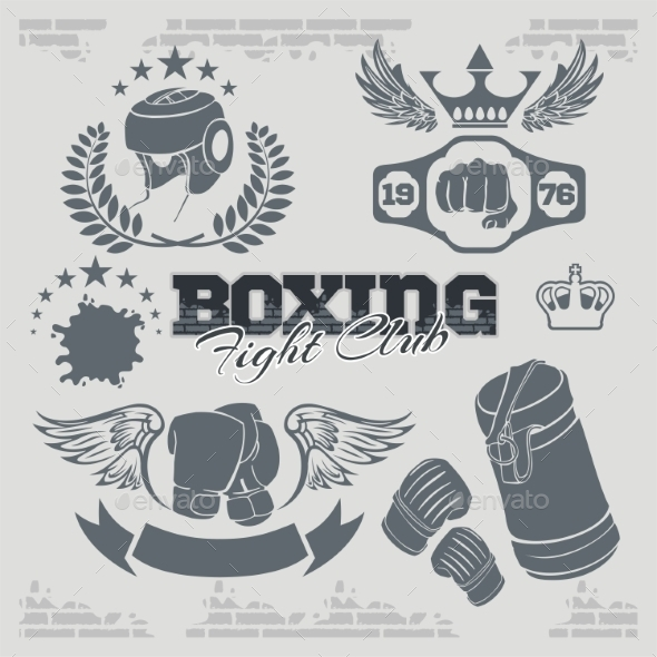 GraphicRiver Boxing Labels and Icons Set 9924452