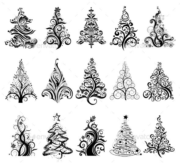 GraphicRiver Set of Luxury Christmas Trees 9924724