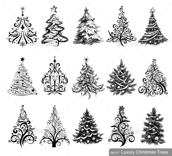 GraphicRiver Set of Christmas Trees 9924728