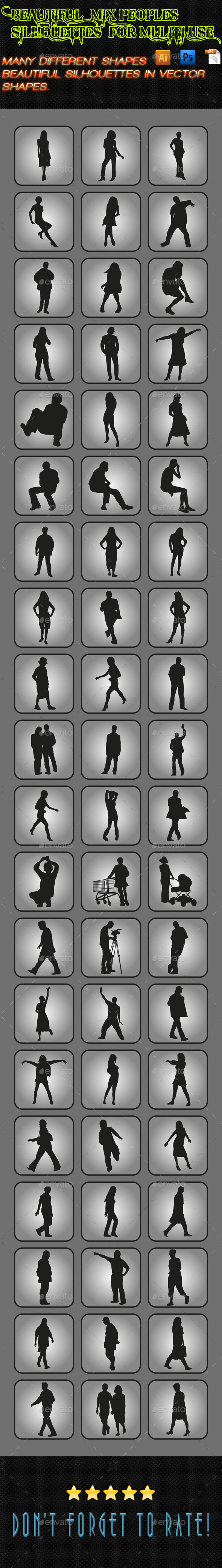 GraphicRiver Mix Peoples Silhouettes 05 9925091