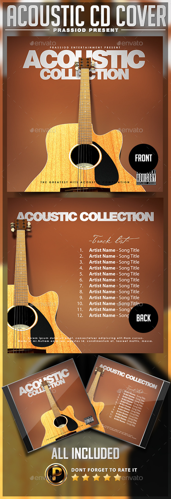 GraphicRiver Acoustic CD Cover Template 9925620