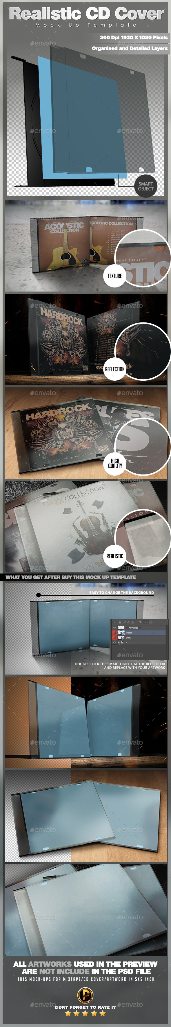 GraphicRiver Realistic CD Cover Mock Up Template 9926274