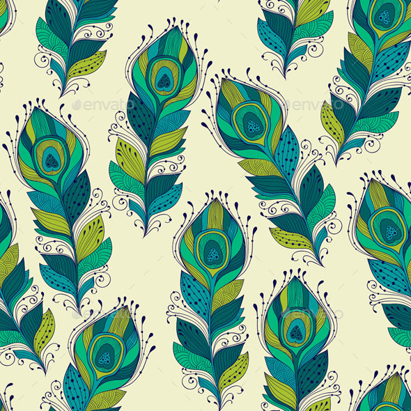 GraphicRiver Seamless Pattern with Peacock Feathers 9927839