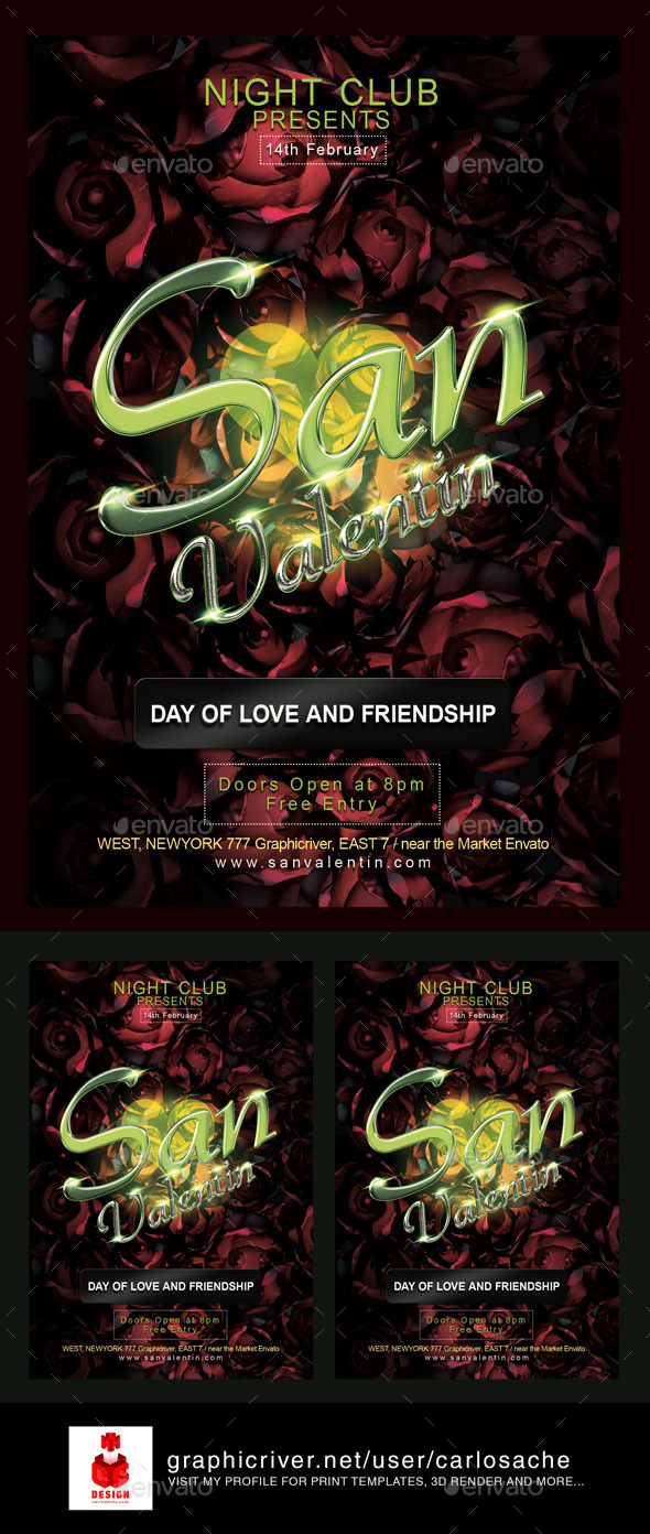 San Valentin Valentines Flyer